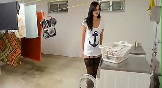 Fucking a HOT German chick on the washing machine