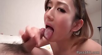 Sweet Reon Otowa sucks a huge dick before a fuck