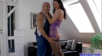 Stockinged brit cougar doggystyled after bj