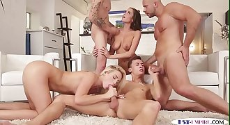 Assfucked studs creamed in a bisexual orgy