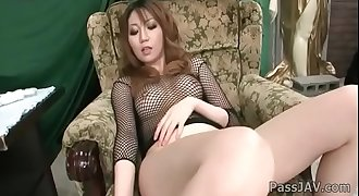 Yuria Kano takes off her sexy black panties and masturbates