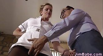 Jism nurse blows old cock