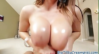 Titfucking mummy with big breasts in pov