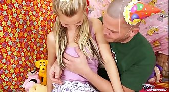 Teenyplayground Bella Baby celebrate her 18th bday with older man in sofa