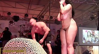 BBW brunette fucking big dick on stage