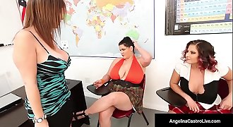 42F BBW, Angelina Castro &amp_ Gia Love Do School Girl Strapon!