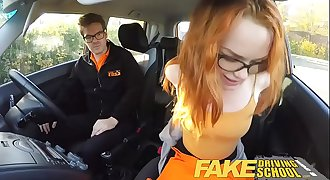 DearSX.com - Fake Driving School Nerdy Teen Ginger Student Seduces Her Instructo