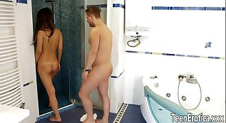 teen Angie Moon bathroom anal