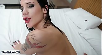 Latina tranny with big boobs loves being anal pumped