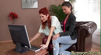 Clothed lesbo pissing
