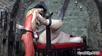 Huge Strap-On In Her Slave'_s Mouth, Ass, and Mouth Again!