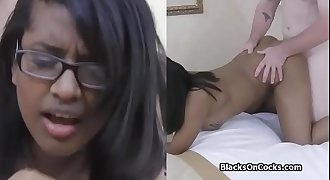 Black babe with glasses fucked
