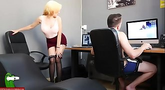 Horny secretary eats cock all the way CRI078